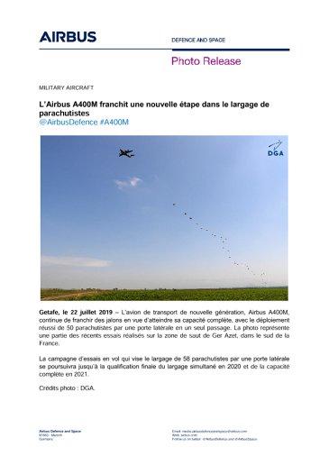 L'Airbus A400M franchit une nouvelle étape dans le largage de parachutistes