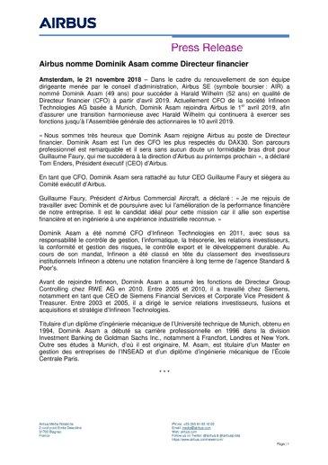 Airbus nomme Dominik Asam comme Directeur financier