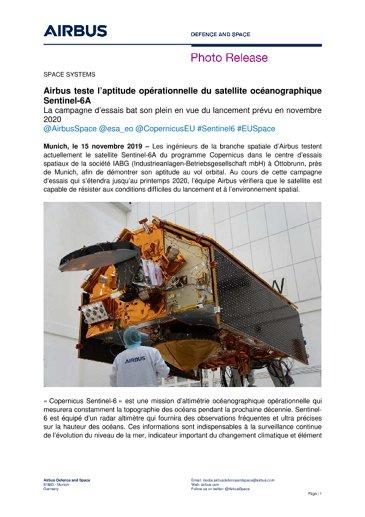 Airbus teste l'aptitude opérationnelle du satellite océanographique Sentinel-6A