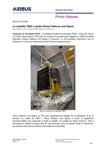 Le satellite TIBA-1 quitte Airbus Defence and Space
