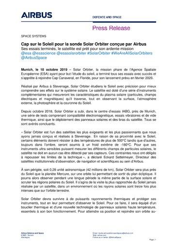 Cap sur le Soleil pour la sonde Solar Orbiter conçue par Airbus