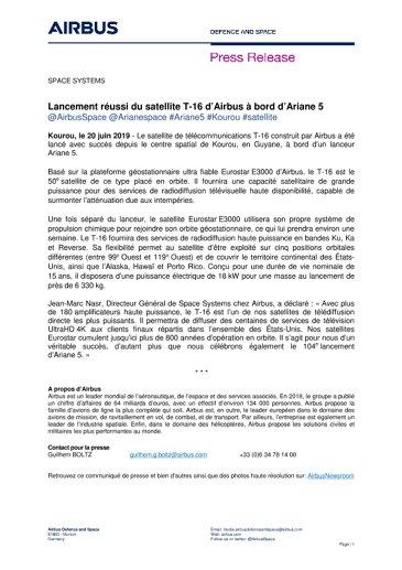 Lancement réussi du satellite T-16 d'Airbus à bord d'Ariane 5