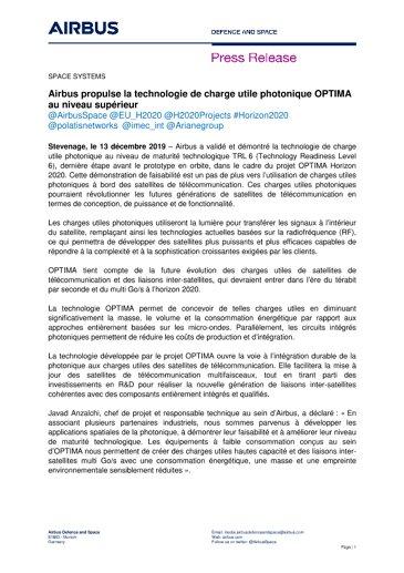 Airbus propulse la technologie de charge utile photonique OPTIMA au niveau supérieur
