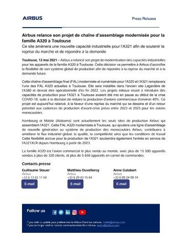 Airbus relance son projet de chaîne d'assemblage modernisée pour la famille A320 à Toulouse