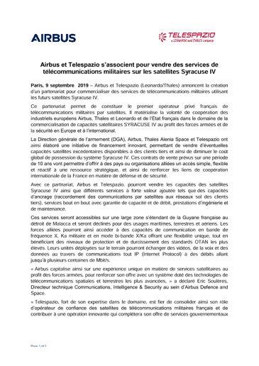 Airbus et Telespazio s'associent pour vendre des services de télécommunications militaires sur les satellites Syracuse IV