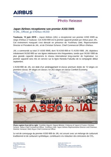 Japan Airlines takes delivery of first A350 XWB