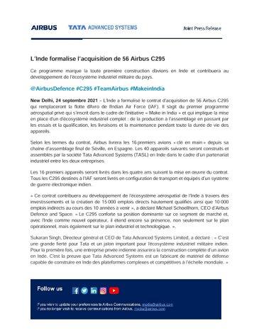 L'Inde formalise l'acquisition de 56 Airbus C295