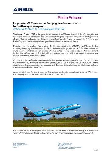 La Compagnie's first A321neo makes inaugural transatlantic flight