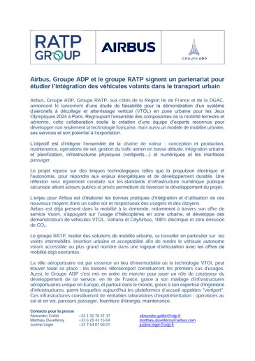 Airbus, Groupe ADP and the RATP Group sign a partnership