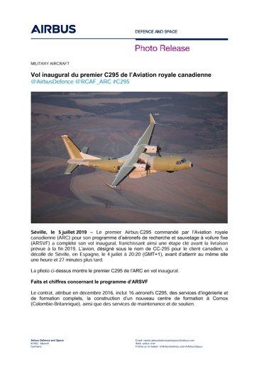 Vol inaugural du premier C295 de l'Aviation royale canadienne