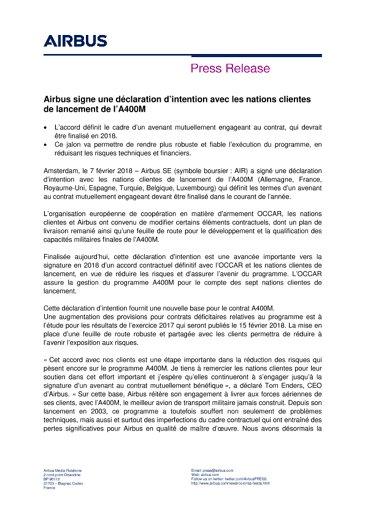 FR_Press Release - A400M DOI