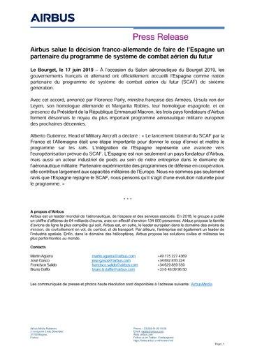 Airbus salue la décision franco-allemande de faire de l'Espagne un partenaire du programme de système de combat aérien du futur
