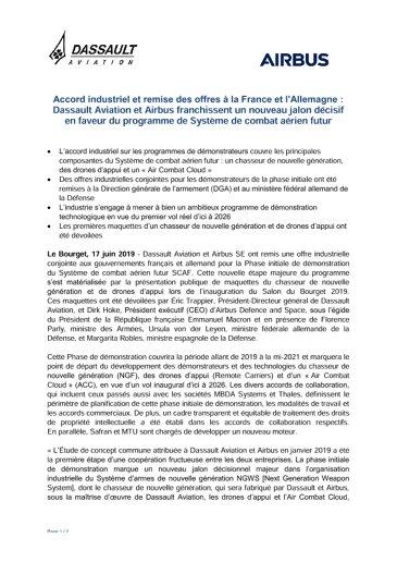 Accord industriel et remise des offres à la France et l'Allemagne : Dassault Aviation et Airbus franchissent un nouveau jalon décisif en faveur du programme de Système de combat aérien futur