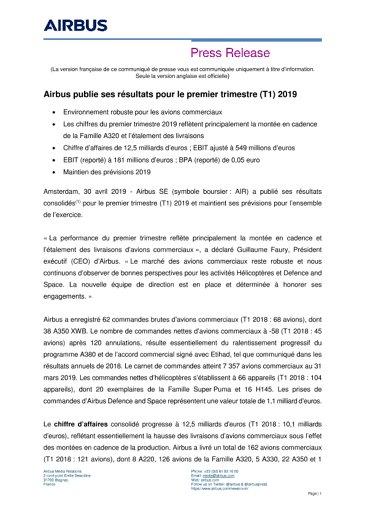Airbus publie ses résultats pour le premier trimestre (T1) 2019