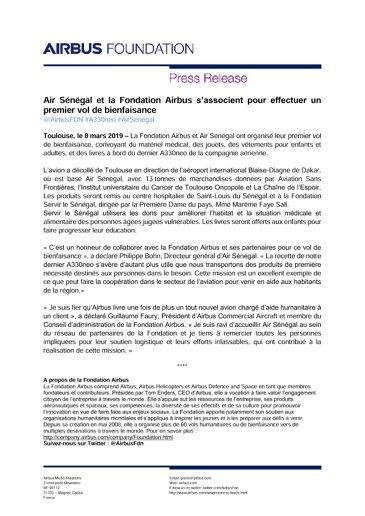 Air Sénégal et la Fondation Airbus s'associent pour effectuer un premier vol de bienfaisance