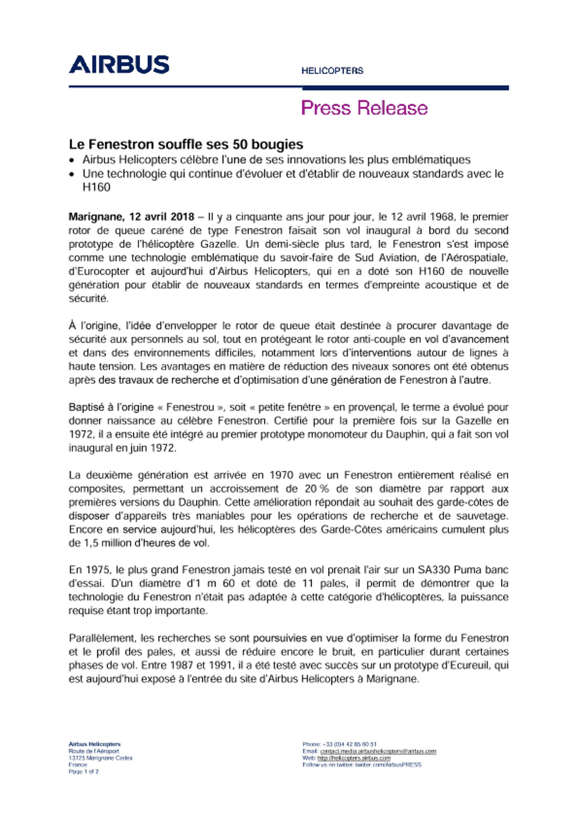 FR Le Fenestron souffle ses cinquantes bougies
