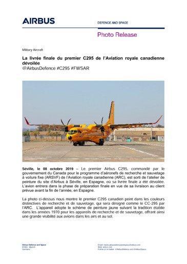 La livrée finale du premier C295 de l'Aviation royale canadienne dévoilée