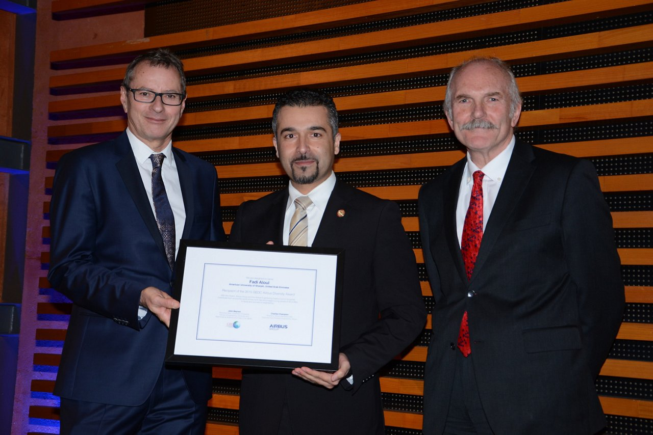 Charles Champion, Executive Vice President Airbus Engineering and Patron of the Diversity Award with 2015 Award Fadi Aloul of the American University of Sharjah (AUS) in the United Arab Emirates,  Recipient of the 2015 GEDC Airbus Award for Diversity in Engineering Education and John Beynon, Chair of the GEDC and Dean of Engineering at the University of Adelaide (c) Airbus Group