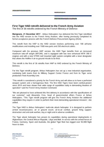First HAD Tiger retrofit delivered to the French Army Aviation