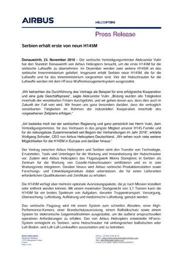 Serbien erhält erste von neun H145M