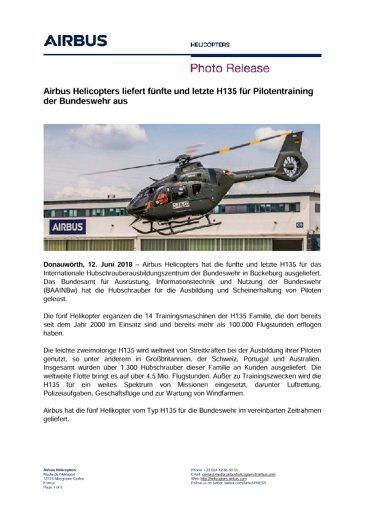 Airbus Helicopters liefert fünfte und letzte H135 für Pilotentraining der Bundeswehr aus