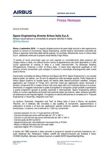 Space Engineering diventa Airbus Italia S.p.A.