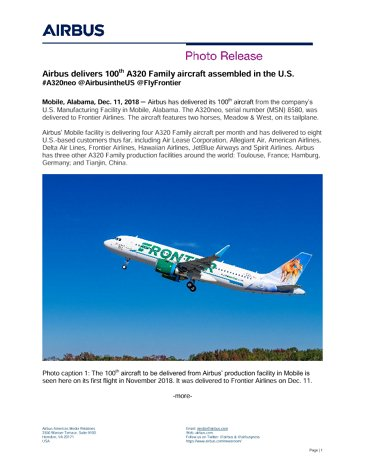 Airbus delivers 100th A320 Family aircraft assembled in the U.S.