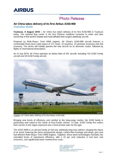 Air China takes delivery of its first Airbus A350-900