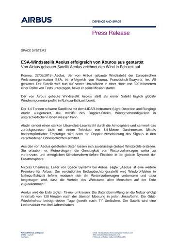 Press Release: Aeolus Launch success - DE