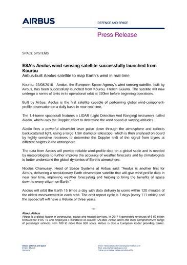 Press Release: Aeolus Launch success - ENG