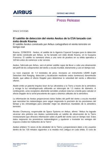 Press Release: Aeolus Launch success - ES.