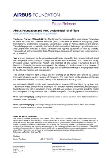 Airbus Foundation and IFRC cyclone Idai relief flight