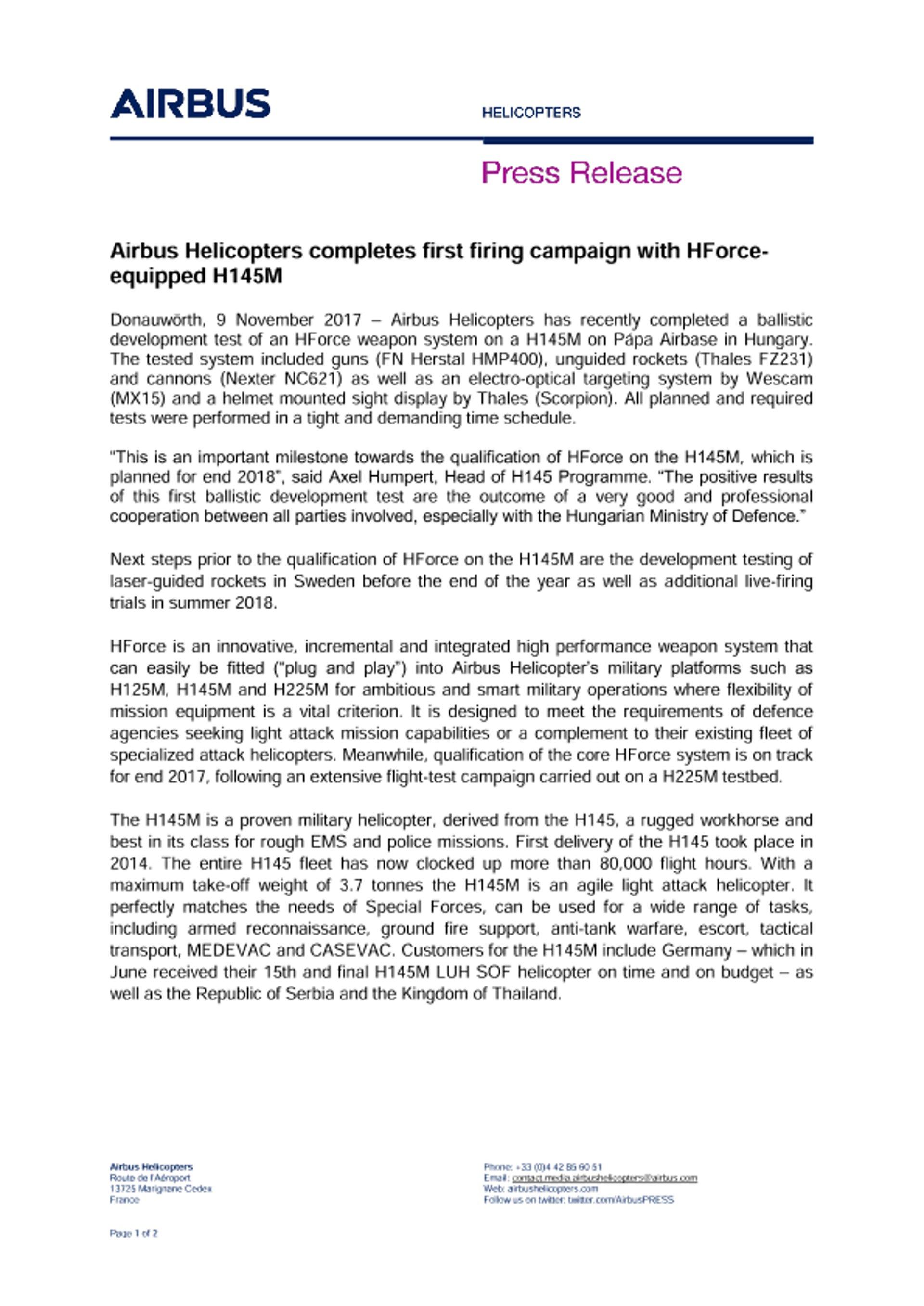 H145M HForce Firing Campaign