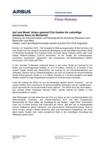 Press Release SPACE SYSTEMS 20092018 DE