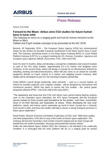 Press Release SPACE SYSTEMS 20092018 EN
