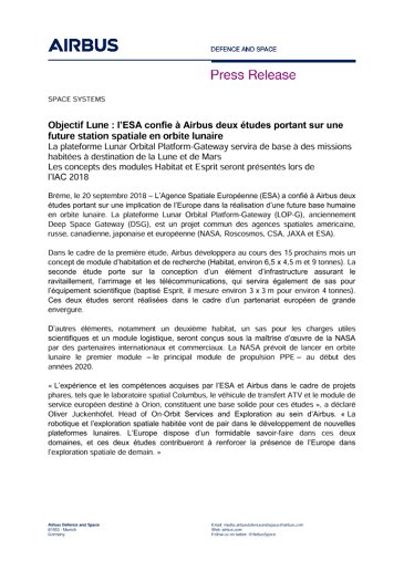 Press Release SPACE SYSTEMS 20092018 FR