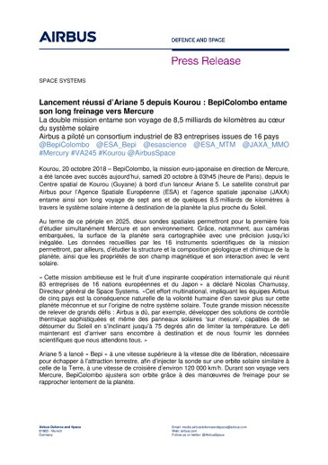 Press Release SPACE SYSTEMS 20102018-FR