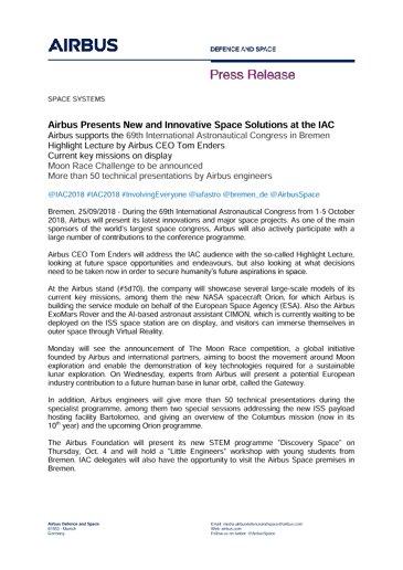 Press Release SPACE SYSTEMS 25092018-EN