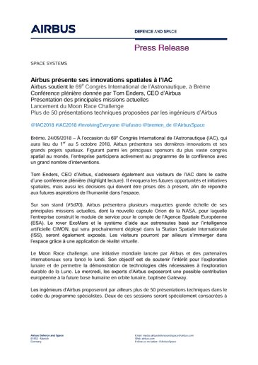 Press Release SPACE SYSTEMS 25092018-FR