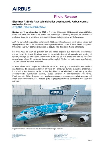 First ANA A380 rolls-out of Airbus Paintshop with unique livery