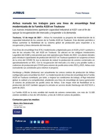 Airbus nimmt Arbeiten an moderner Endlinie für A320-Familie in Toulouse wieder auf