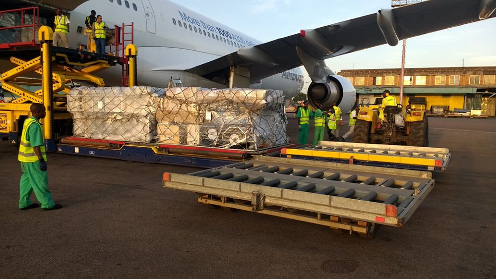 Unloading at Entebbe Airport