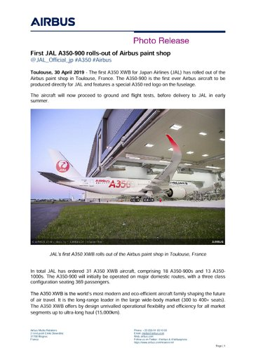 First JAL A350-900 rolls-out of Airbus paint shop