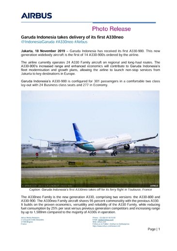 Garuda Indonesia takes delivery of its first A330neo