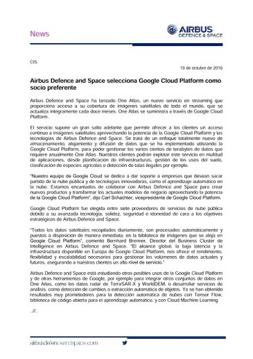 Airbus Defence and Space Selects Google Cloud Platform as Preferred