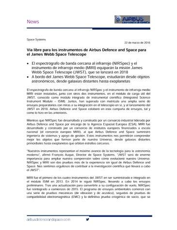 Microsoft Word - News releae NIRSpec testing-SP.doc