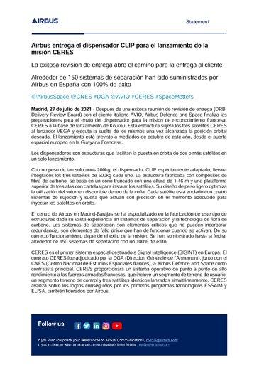 Airbus entrega el dispensador CLIP para el lanzamiento de la misión CERES