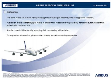 Airbus Approved Suppliers List (as of April 2020)
