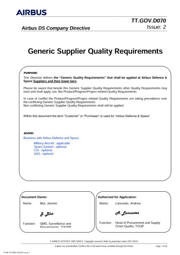 Directive Supplier Quality Requirements