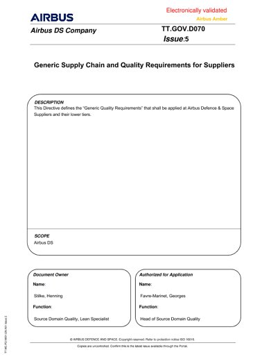 Generic Supply-Chain and Quality Requirements